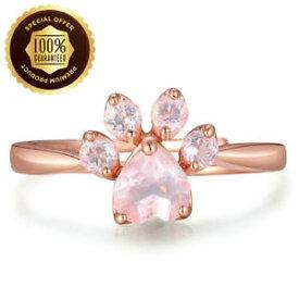 【送料無料】ネコ 猫 ネックレス #スターリングシルバーローズクリスタルリングwomen039;s sterling silver rose crystal cat paw adjustable ring