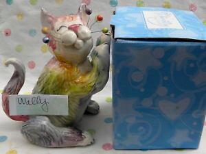 【送料無料】猫 ネコ キャット 置物 #ブックエンド??034;wally034; fluffy rainbow whimsiclay cat sculpture, could be bookend