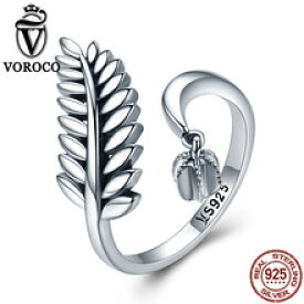 【送料無料】スターリングシルバーリングリーフオープンリングvoroco pure 100 925 sterling silver open ring cute leaf adjustable rings for women engagement weddi
