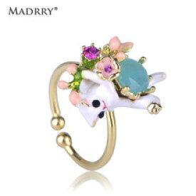 【送料無料】madrryエナメルmadrry jewelry enamel white cat flower shape women girls