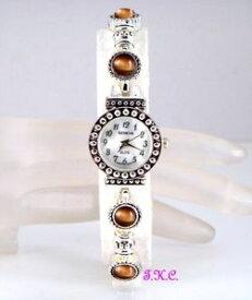 【送料無料】腕時計 ウォッチアールデコビクトリアシックスリムgeneva silver plated deco victorian golden cats eye chic slim dress wrist watch