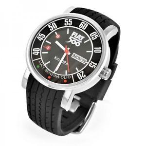 【送料無料】腕時計 ウォッチフィアットデータメトロfiat 500 fiww02 orologio polso uomo gomma nero 44mm data originale tachimetro dd