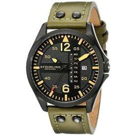 【送料無料】腕時計 ウォッチメンズサファイアウォッチstuhrling aviator 699 mens 44mm green calfskin synthetic sapphire watch 69903