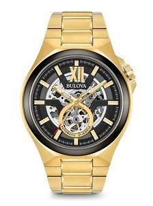 【送料無料】腕時計 ウォッチディーラーメンズゴールドトーンスケルトンウォッチauthorized dealer bulova mens automatic gold tone skeleton watch 98a178