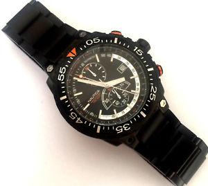 【送料無料】腕時計 ウォッチノーティカブラックカラーメンズクロノグラフネジ