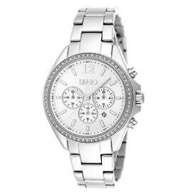 【送料無料】リュージョーポリッシュスチールリングクロッククロノグラフliu jo orologio donna premiere cronografo in acciaio lucido ghiera cristalli