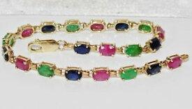 【送料無料】ブレスレット アクセサリ— ゴールドエメラルドルビーサファイアレディースブレスレット9ct gold emerald ruby amp; sapphire ladies bracelet