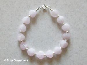 【送料無料】ブレスレット アクセサリ— ロマンチックピンクローズクォーツハートビーズブレスレットホワイトスワロフスキーromantic pink rose quartz heart beads bracelet gift with white swarovski pearls