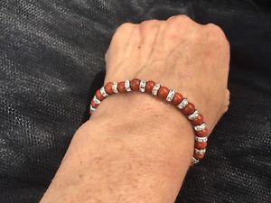 【送料無料】ブレスレット アクセサリ— レッドジャスパーエネルギーヒーリングブレスレットクリスマスcz red jasper natural energy gemstone healing bracelet bling birthday xmas gift