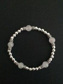 【送料無料】ブレスレット アクセサリ— スターリングシルバーブレスレットローズクォーツビードストレッチブレスレットsterling silver stretch bracelet rose quartz gemstone beads sterling bracelet