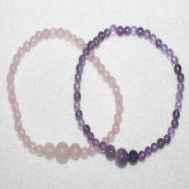 【送料無料】ブレスレット アクセサリ— アメジストローズクォーツブレスレットセットprecious amethyst and rose quartz gemstone two bracelets set birthday gift