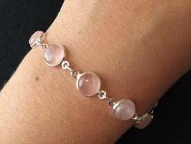 【送料無料】ブレスレット アクセサリ— ブランドソリッドスターリングシルバーローズクォーツラウンドブレスレットbrand authentic solid sterling silver rose quartz round bracelet 75 85