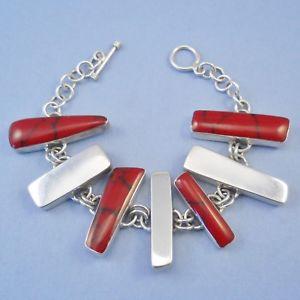 【送料無料】ブレスレット アクセサリ— メキシコシルバーレッドジャスパーパネルブレスレットトグルクラスプメキシコgmexican 925 silver amp; red jasper panel bracelet, toggle clasp, mexico, 363g