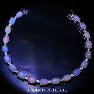 【送料無料】ブレスレット アクセサリ— スターリングシルバーカボションオパールテニスブレスレットインチ#sterling silver 925 genuine natural cabochon opal tennis bracelet 7 inches 2