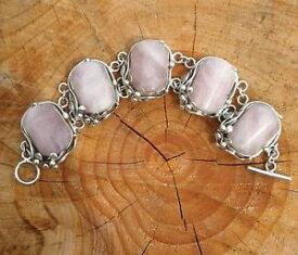 【送料無料】ブレスレット アクセサリ— ビンテージソリッドシルバーローズクォーツブレスレットvintage heavy 925 solid silver rose quartz bracelet