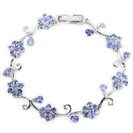 【送料無料】ブレスレット アクセサリ— スターリングシルバータンザナイトフラワーデザインブレスレットインチsterling silver 925 genuine natural tanzanite floral design bracelet 7 inch