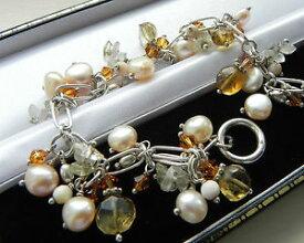 【送料無料】ブレスレット アクセサリ— ゴージャスgスターリングシルバーブレスレットgorgeous 22g sterling silver 925 fully hm bracelet of golden gemstones amp; pearls