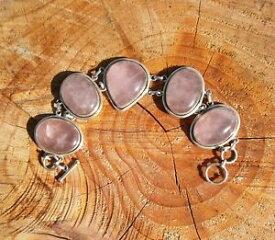【送料無料】ブレスレット アクセサリ— ビンテージスターリングシルバーローズクォーツブレスレットvintage 925 stirling silver heavy rose quartz bracelet