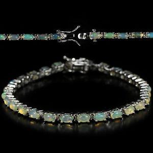 【送料無料】ブレスレット アクセサリ— スターリングシルバーカボションオパールテニスブレスレットインチ#sterling silver 925 genuine natural cabochon opal tennis bracelet 7 inches 3