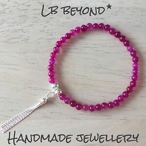 【送料無料】ブレスレット アクセサリ? スターリングシルバータッセルチャームブレスレットピンクビーズteacher gift sterling silver tassel charm bracelet with pink semi precious beads
