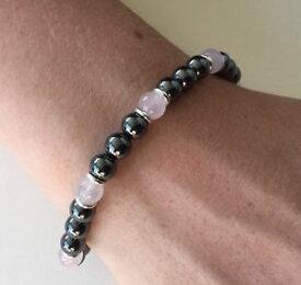 【送料無料】ブレスレット アクセサリ— スターリングシルバーヘマタイトローズクォーツビードブレスレットsterling silver, hematite, rose quartz gemstone bead bracelet