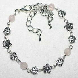 【送料無料】ブレスレット アクセサリ— ピンクローズクォーツフラミンゴビーズブレスレットpink precious rose quartz gemstone flamingo charm beaded boho bracelet gift