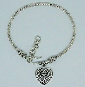 【送料無料】ブレスレット アクセサリ? ビンテージスネークチェーンハートチャームブレスレットスターリングシルバーバリvintage snake chain heart charm bracelet 925 sterling silver bali 119 gms