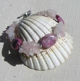 【送料無料】ブレスレット アクセサリ— ローズクォーツフクシアビーズブレスレットローズrose quartz amp; fuchsia agate crystal gemstone beaded bracelet sweet rose