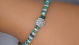【送料無料】ブレスレット アクセサリ— スターリングシルバーターコイズパールブレスレット**lovely sterling silver turquoise amp; pearl 7 peace symbol bracelet**