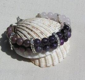 【送料無料】ブレスレット アクセサリ— アメジストローズクォーツクリスタルブレスレットamethyst, rose quartz amp; aventurine crystal gemstone bracelet mystic dawn
