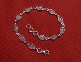 【送料無料】ブレスレット アクセサリ— ソリッドスターリングシルバーブレスレットローズクォーツ925 solid sterling silver bracelet natural rose quartz gemstone sizable jsrqb01