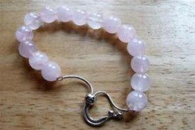 【送料無料】ブレスレット アクセサリ— ラウンドピンクローズクォーツスターリングシルバーブレスレットスライダーインround pink rose quartz 925 sterling silver slider bracelet 6 to 85 ins