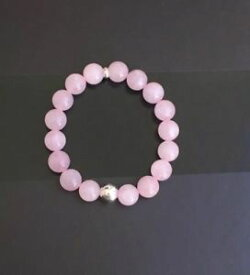 【送料無料】ブレスレット アクセサリ— グレードローズクォーツビーズスターリングシルバーハンドメイドブレスレットreal natural grade ab rose quartz bead bracelet with sterling silver handmade uk
