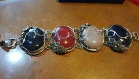 【送料無料】ブレスレット アクセサリ— レディースブレスレットベリルローズクォーツ listingsilver 925 gemmed ladies huge bracelet beryl, rose quartz etc