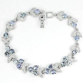 【送料無料】ブレスレット アクセサリ— スターリングシルバーラウンドタンザナイトシルバーブレスレットインチsterling silver 925 round genuine natural tanzanite amp; silver bracelet 775 inch