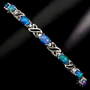 【送料無料】ブレスレット アクセサリ— スターリングシルバーカボションオパールアンプキスブレスレットインチsterling silver 925 genuine cabochon opal amp; silver kiss bracelet 75 inches