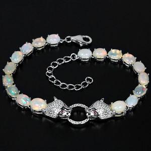 【送料無料】ブレスレット アクセサリ— スターリングシルバーカボションオパールタイガーデザインブレスレットsterling silver 925 genuine natural cabochon opal tiger design bracelet 725 9