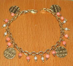 【送料無料】ブレスレット アクセサリ? イエローゴールドコーラルパールラインブレスレットstunning secondhand qvc 9ct yellow gold coral amp; pearl line bracelet 19cm