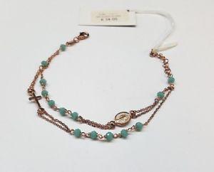 【送料無料】ブレスレット シルバーブレスレットターコイズピンクメッキbracciale rosario in argento 925 placcato rosa con quarzi naturali turchesi