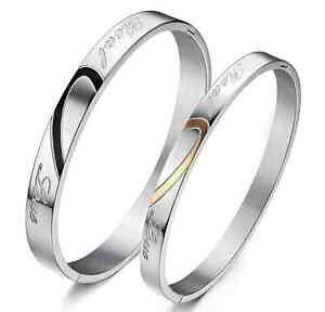 【送料無料】ブレスレット カフブレスレットトルクカップル2 bracciale coppia braccialetto uomo donna cuore fidanzati paio incisione