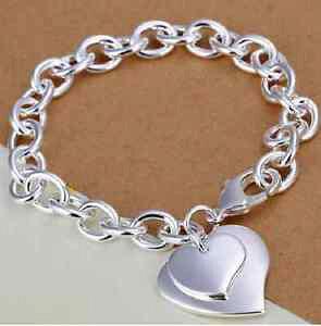 【送料無料】ブレスレット カフハートブレスレットブレスレットbracciale donna cuore doppio cuore versilbertes bracciale con cuore bracciale cuore