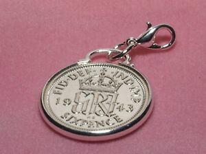 【送料無料】ブレスレット ペンスペンダントコインブレスレットハングアップ70th compleanno fortuna sei pence moneta braccialetto con ciondolo pronto da appendere 1948 cinch