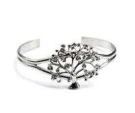 【送料無料】ブレスレット ブレスレットドヴィbc1117e bracelet jonc ouvert avec arbre de vie strass et mtal argent