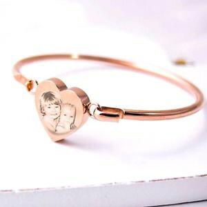 【送料無料】ブレスレット ピンクゴールドハートブレスレットカフカスタムfoto inciso oro rosa cuore braccialettobracciale, personalizzato della mamma