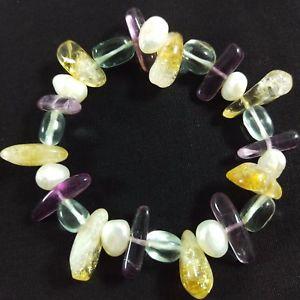 【送料無料】ブレスレット シトリンブレスレットブレスレットbraccialetto in quarzo citrino fluorite e ialino bracciale con perle naturali
