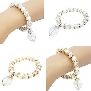 【送料無料】ブレスレット ストレッチマヨルカアルミガラスbracciale elastico stretch donna cristalli perle majorca cuore vetro alluminio