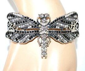 【送料無料】ブレスレット カフシルバーブラックホワイトラインストーンバタフライスプリングbracciale donna argento nero bianco strass farfalla elastico a molla regalo a14