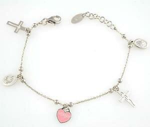 【送料無料】ブレスレット シルバーカフアーメンマドンナbracciale bambina amen in argento 925 con croce madonna miracolosa cuore brmc