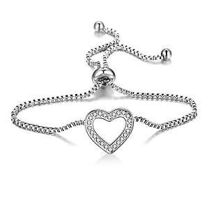 【送料無料】ブレスレット シルバーハートブレスレットスワロフスキークリスタルsilver heart braccialetto dellamicizia con cristalli di swarovski