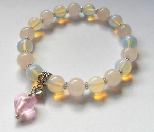 【送料無料】ブレスレット ピンクオパールガラスピンクハートヒーリングブレスレットrosa quarzo gemstone guarigione bracciale con opale e vetro rosa cuore charm